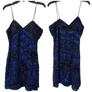 MANGO Sequin Embroidered Blue Black Dress Size 8